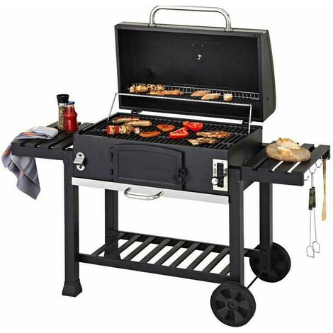 """main image of """"CosmoGrill XXL Charcoal Outdoor Smoker BBQ Portable Garden Barbecue Grill With Cover - Black"""""""