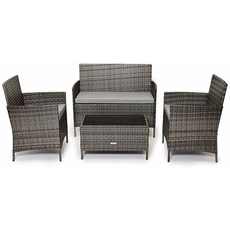 Cosmoliving Outdoor Garden Rattan Furniture 4 Piece Set Chairs Sofa Table Patio Grey Madrid