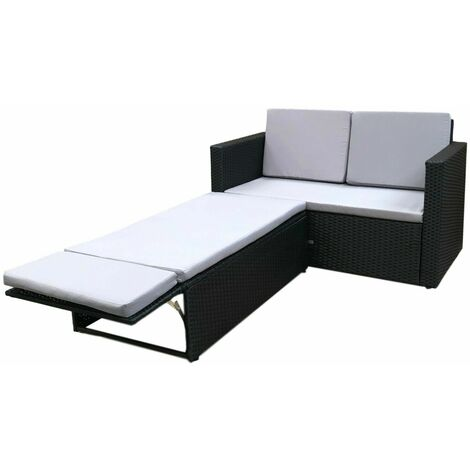 Evre Outdoor Rattan Garden Sofa Furniture Set Love Bed two seater Black