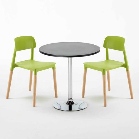 COSMOPOLITAN Set Made of a 70cm Black Round Table and 2 Colourful BARCELLONA Chairs