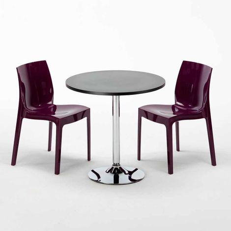 COSMOPOLITAN Set Made of a 70x70cm Black Round Table and 2 Colourful ICE Chairs