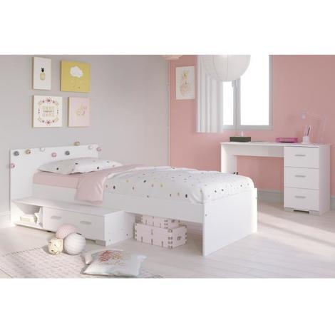 COSMOS Chambre enfant complete 2 pieces - Lit + bureau - Style essentiel -  Décor blanc Aucune