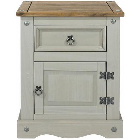 Coson Grey Pine 1 Door 1 Drawer Bedside Table