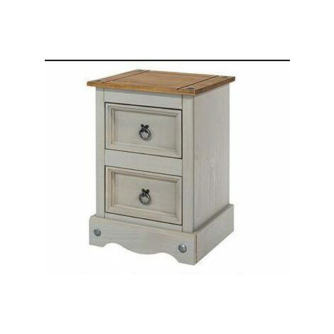 Coson Grey Pine 2 Door Small Bedside Cabinet