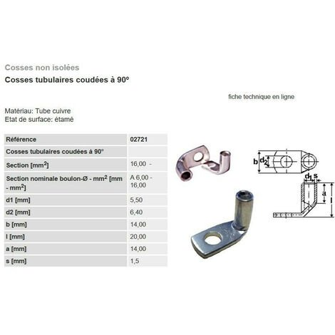 """main image of """"Cosse électrique à sertir coudée 90° type 6-10-16-25 mm²  lot de 5 - 10 - 25 pièces"""""""