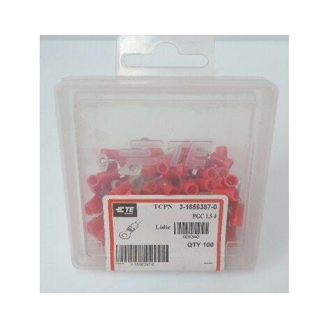 Cosse préisolée rouge cuivre pour fil 0,25-1,6mm² Bornage 4mm (boite de 100) PGC 1,5-4 (605340) TYCO ELECTRONICS 3-1856387-0