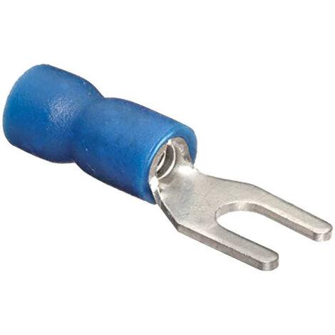 Cosses preisolato Cembre fourchette de 2,5 mm de Diamètre, 4 mm Bleu BF-U4