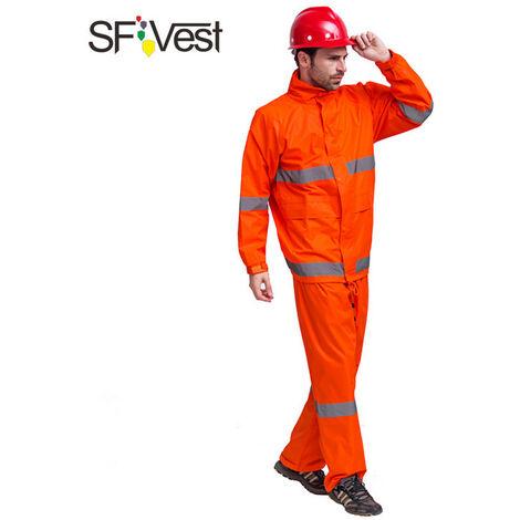 Costume Pantalon De Pluie Impermeable Reflechissant, M Orange Fluorescent