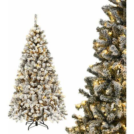 """main image of """"COSTWAY 180cm Kuenstlicher Weihnachtsbaum mit Schnee und 250 warmweissen LED-Leuchten, Tannenbaum mit Metallstaender, Christbaum 600 Spitzen PVC Nadeln, Kunstbaum Weihnachten Klappsystem"""""""
