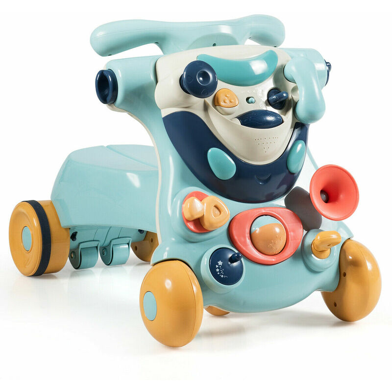 Image of 2-in-1 Baby Sit-to-Stand Walker Toddler Ride-On Car Kids Activity Center W/ Toys - Costway