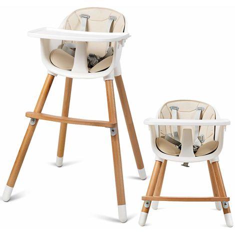 COSTWAY 2-in-1 Babyhochstuhl, Kinderhochstuhl aus Holz, Treppenhochstuhl, Kombihochstuhl Baby, Holzhochstuhl Kinder mit einstellbare Ablage und Fu?stütze, für Kleinkinder und S?uglinge