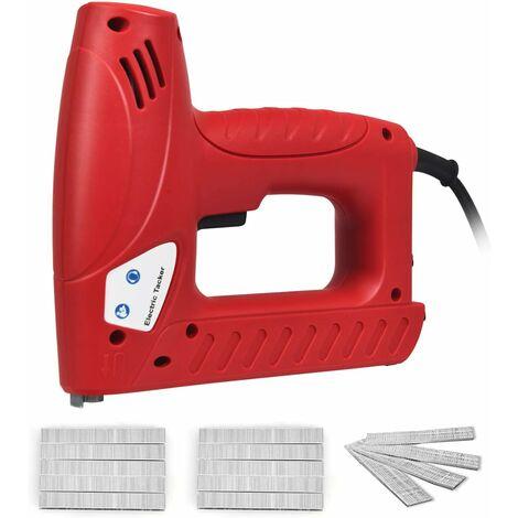 COSTWAY 2-in-1 Elektrischer Tacker Nagler Elektrisches Nagelpistolen Kit mit 1200 Tackerklammern und 300 Naegel / 20 Stueck/Min