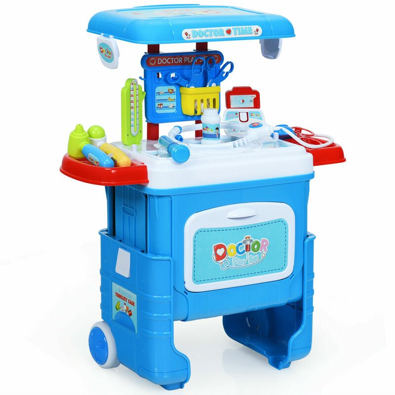 Image of 2 in 1 Kids Doctor Role Play Set, Convertible Child Medical Trolley Case with Wheels, Sound and Light Effect, Accessories, Educational Pretend Toy