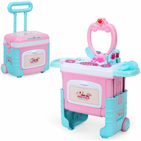 Costway 2 in 1 KIds Pretend Makeup Set Toddlers Princess Dressing Table Trolley Case