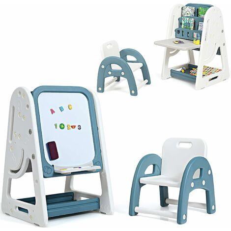 COSTWAY 2 in 1 Kinder Staffelei & Kindersitzgruppe mit Buecherregal, Kindertisch & -stuhl mit Aufbewahrungsablage und klappbarer Tischplatte, magnetische Standtafel mit Malzubehoer Blau
