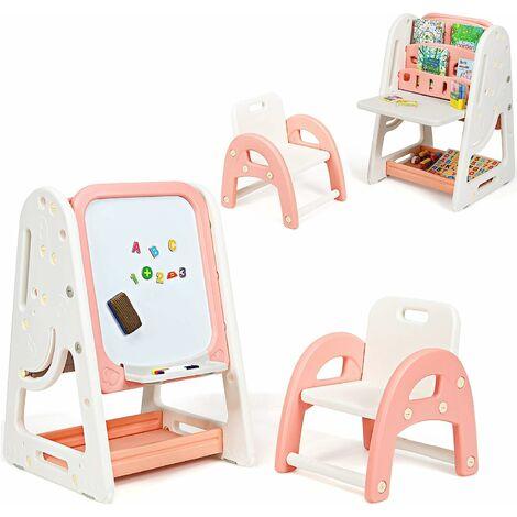 COSTWAY 2 in 1 Kinder Staffelei & Kindersitzgruppe mit Buecherregal, Kindertisch & -stuhl mit Aufbewahrungsablage und klappbarer Tischplatte, magnetische Standtafel mit Malzubehoer Orange