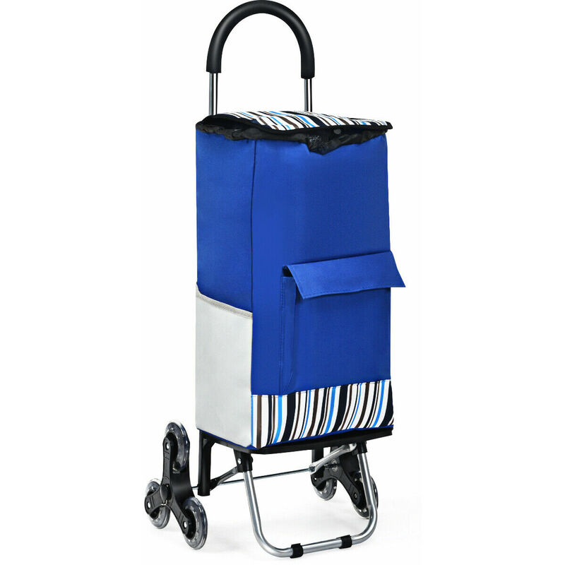 Image of 2 in 1 Shopping Trolley, Foldable Shopping Cart & Hand Tuck with Climbing Stair Wheels, Detachable Bag and Adjustable Bungee Cord, Upgraded