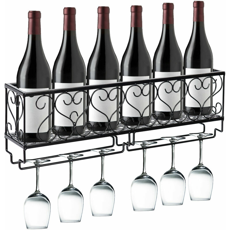 Image of 2 IN 1 Wall Mounted Wine Rack Black Metal Storage Holder Glass Bottle Cup Rack - Costway