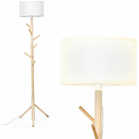 COSTWAY 2 IN 1 Wood Floor Light Standing Lamp Coat Rack E27 Lamp Holder Living Room