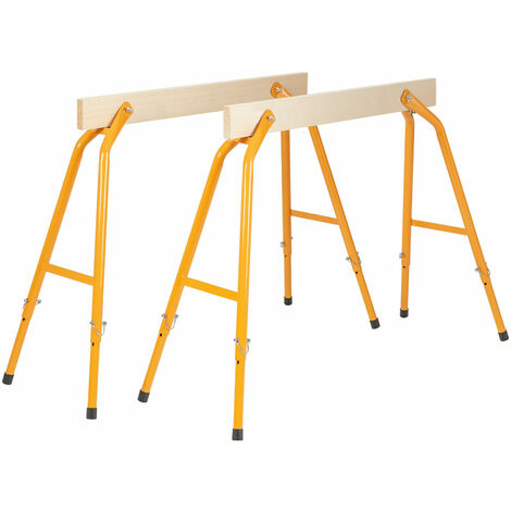COSTWAY 2 PCS Saw Horses, DIY Work Bench with Wooden Surface and Height Adjustable Legs, Lightweight Garage Trestles Load up to 200kg