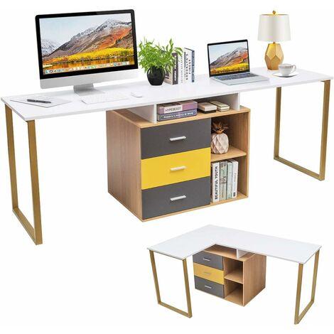 COSTWAY 2 Personen Computertisch mit 3 Schubladen und 2 offenen Faechern, L-foermiger Eckschreibtisch, Schreibtisch umstellbar, Arbeitstisch Holz, Winkelkombination Tisch fuer Homeoffice