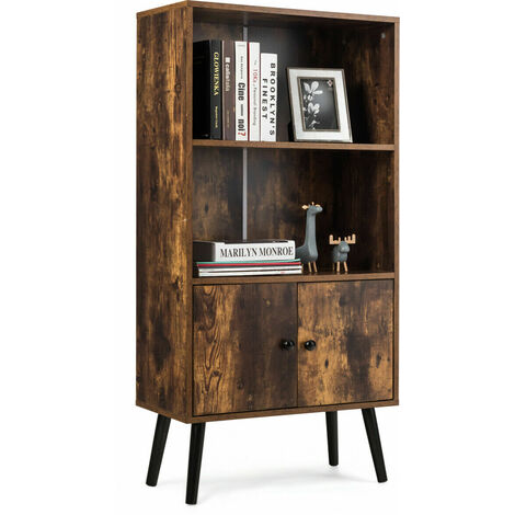COSTWAY 2-Tier Retro Bookcase, Bookshelf w/3 Compartment and 3 Doors, Industrial Storage Cabinet w/Solid Wood Legs