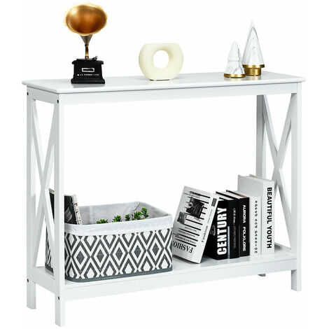 COSTWAY 2-Tiers Console Side Table, X-Shaped PC Computer Writing Desk , Living Room Entryway Hallway Narrow End Sofa Tables (White)