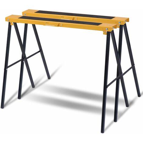 COSTWAY 2 x Geruestbock, Klappbock Set, Stützbock Saegehilfe, Arbeitsbock Metall, Unterstellbock Belastbar bis 275 KG
