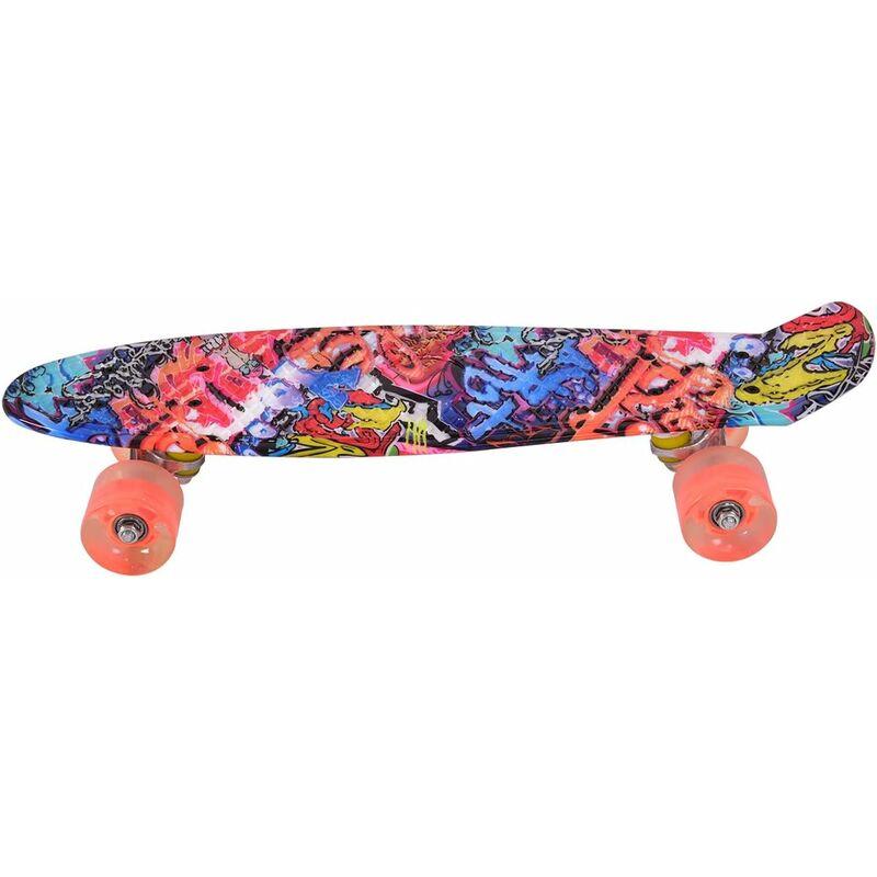 Image of 22' Skateboard LED Light Up PU Wheel Complete Cruiser Retro Deck Kids Adults - Costway