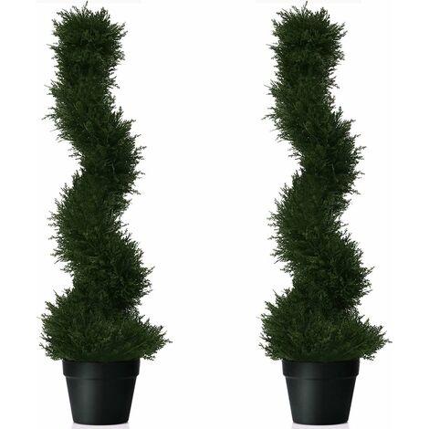COSTWAY 2er Set Zimmerpflanze Deko, Kunstpflanze, Dekopflanze kuenstlich, Kunstbaum gruen (Hoehe 92cm)