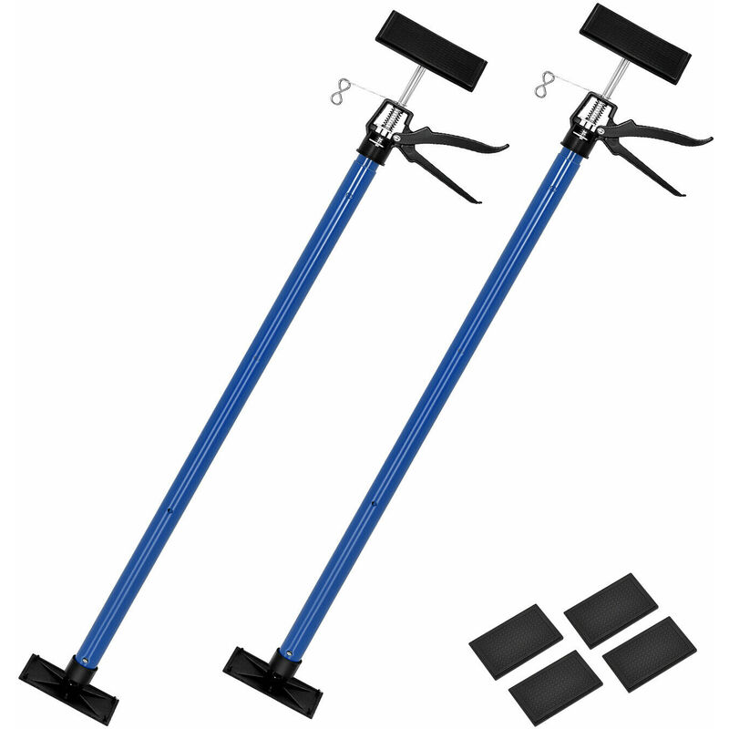 Image of 2Pcs Telescopic Props, Drywall Plasterboard Prop with 115-290cm Adjustable Pole, Steel Ceiling Support Rod for Cabinet Jacks Cargo Bar - Costway