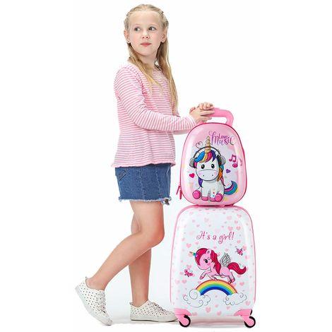 COSTWAY 2tlg Kinderkoffer + Rucksack Kofferset Kindergepaeck Reisegepaeck Kindertrolley Hartschalenkoffer Rosa