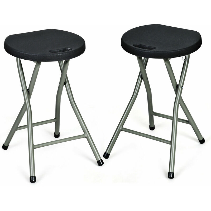 Image of 2X Folding Stool Portable Seat Plastic Home Kitchen Easy Storage Metal Frame - Costway