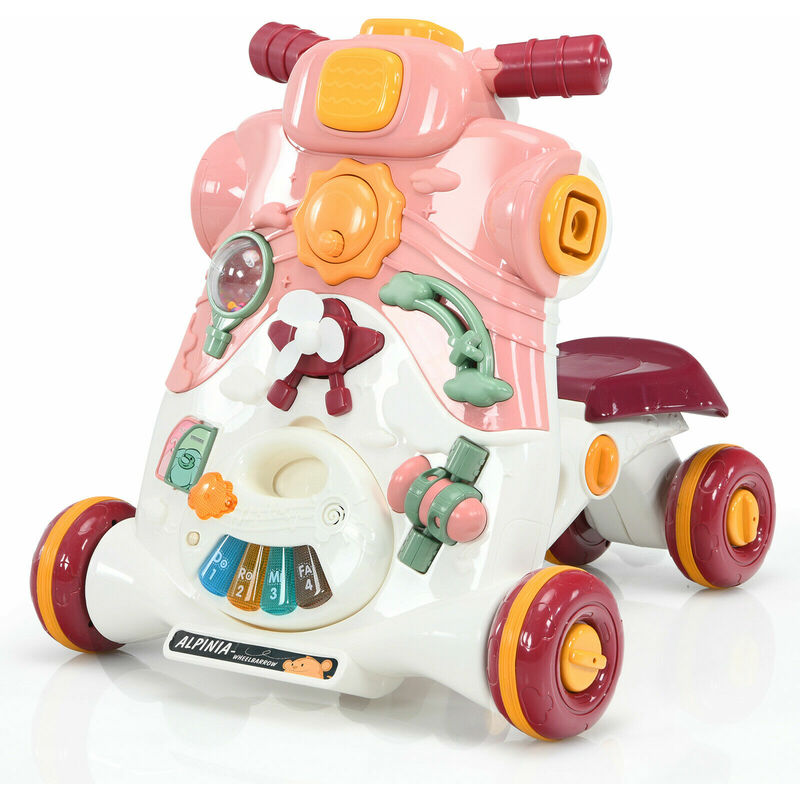 Image of 3-in-1 Baby Sit to Stand Walker Ride on Car Game Panel W/ Light Music Toy Pink - Costway