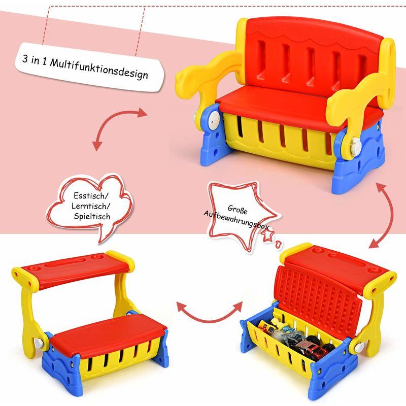 Costway 3 In1 Kinder Sitztruhe Kindertisch Mit Stuhl Sitzbank Fuer Kinder Kinderbank Kindersitzgruppe Kindermoebel Mit Truhe Kippbar Rot