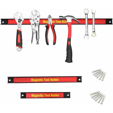 COSTWAY 3 Pièces Barres Magnétiques pour Outils Barres Magnétiques Barre à Couteau Aimentée