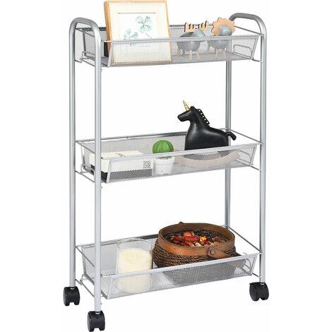 COSTWAY 3 Tier Storage Trolley on Wheel Roll Cart Storage Shelf Bathroom Kitchen Laundry