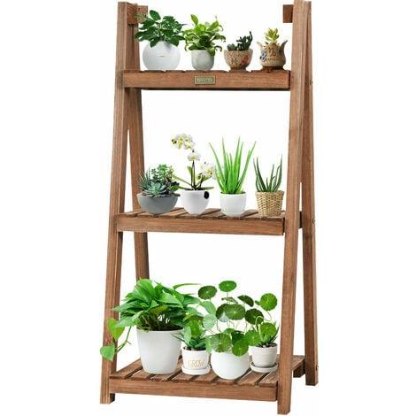 COSTWAY 3 Tier Wooden Plant Stand, Folding Flower Shelf Display Ladder, Free Standing Flowers Rack Shelves for Garden Home Balcony