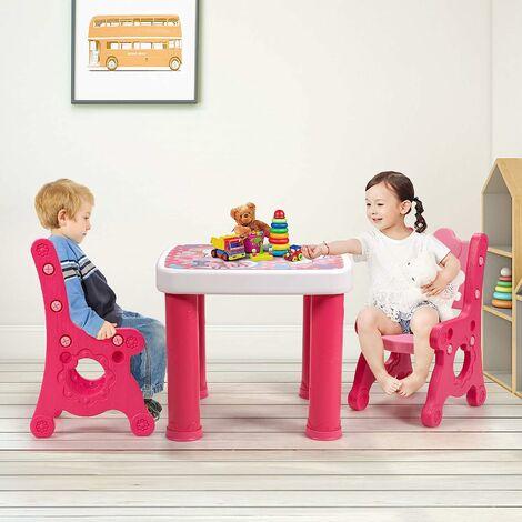 COSTWAY 3 TLG. Kindersitzgruppe, hoehenverstellbarer Kindertisch mit 4 Schubladen, 2 Kinderstuehlen mit Verstellbarer Sitzh?he, Sitzgruppe Kinder zum Zeichnen, Lernen, Spielen und Essen