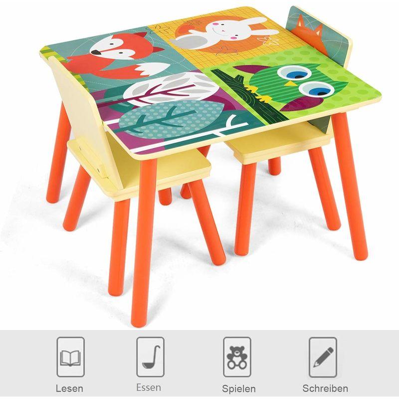 COSTWAY 3 TLG. Kindersitzgruppe Kindermoebel Kinderstuhl & Tisch Holz Maltisch