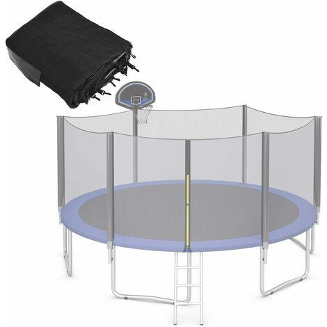 COSTWAY Φ366cm Trampolin Sicherheitsnetz fuer Gartentrampoline, Ersatznetz mit Reissverschluss und Schnallen, Netzhoehe 180 cm