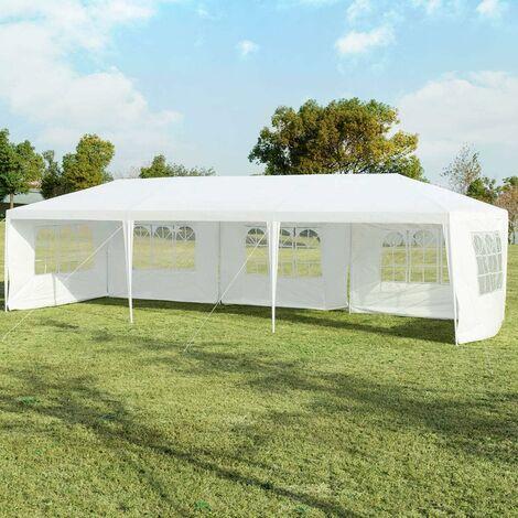 COSTWAY 3x9m Gartenpavillon Partyzelt mit 5 abnehmbaren Seitenw?nde, Faltpavillon Bierzelt UV-Schutz, Gartenzelt faltbar, Faltzelt Pavillon