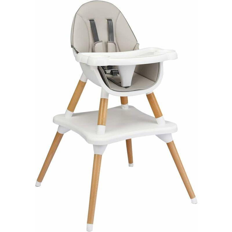 4 en 1 Chaise Haute Bébé Convertible Plateau Réglable en 4 Etapes-Peut être Démonté en une Table et une Chaise avec Coussin Amovible,Repose-Pieds
