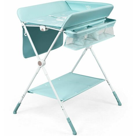 COSTWAY 4-in-1 Baby Changing Table Adjustable Infant Care Station with Wheels Storage