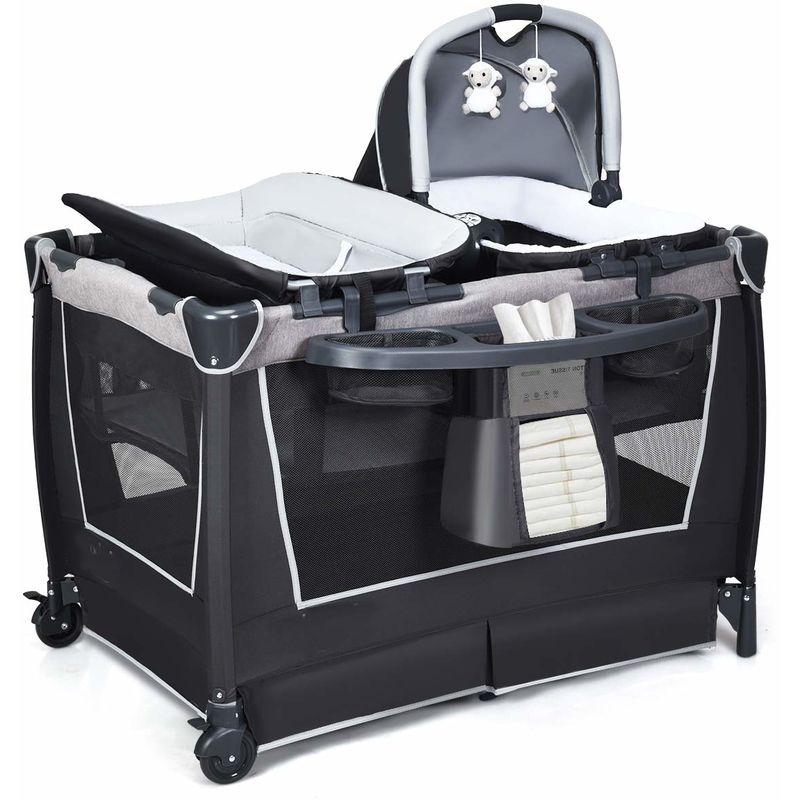 4 in 1 klappbares Reisebett & Wickeltisch & Laufstall & Babywiege mit Schaukelfunktion, inkl. Babykorb, Wickelauflage, Matratze, Spieluhr, Spielzeug,