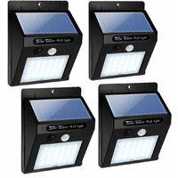 COSTWAY 4 Pack 30 LED Lampe Solaire Extérieur Murale avec Bouton,Etanche IP45,500 Fois pour Jardin,Garage,Porte d'Entrée 96 x 48 x 124MM