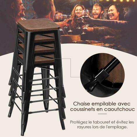 COSTWAY 4 Tabouret Bar Empilable de Style Industriel Vintage Hauteur 64,5 CM,Charge Max. : 150 KG avec Repose-Pied et Patin du Pied