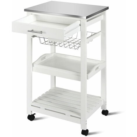 COSTWAY 4 Tier Kitchen Storage Trolley Cart Rolling Kitchen Service Cart Lockable Wheels