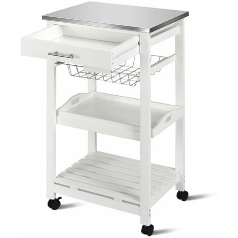COSTWAY 4 Tier Kitchen Storage Trolley Cart Rolling Kitchen Service Cart Lockable Wheels