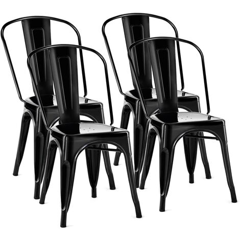 COSTWAY 4er Set Esszimmerstuhl, Bistrostuhl aus Metall, Barhocker stapelbar, Metallstuhl bis 113kg belastbar Schwarz